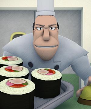 Chef frog lick